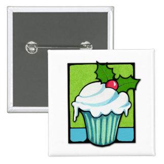 Christmas Holly Cupcake Button