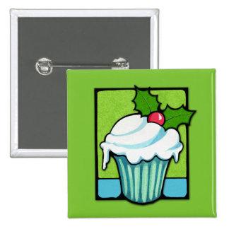 Christmas Holly Cupcake green Button