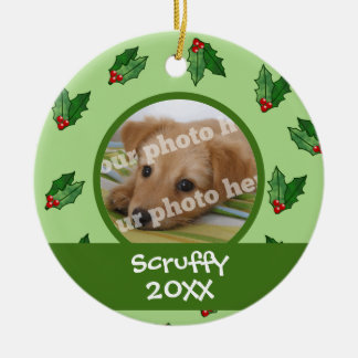 Christmas Holly Custom Photo Dog Cat Pet Ornament