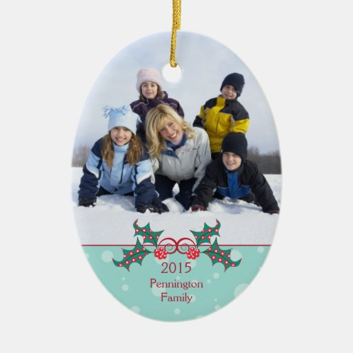 Christmas holly customizable family photo ornament