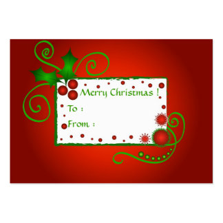 Christmas holly - Gift tag card Business Cards