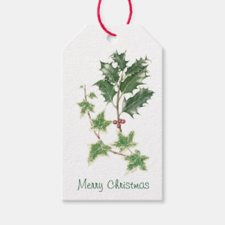 Christmas Holly & Ivy Sprig Botanical Watercolour Pack Of Gift Tags