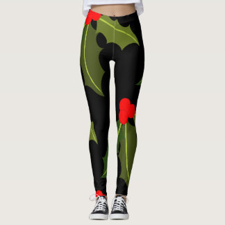Christmas Holly Leaf and Berry Pattern Legging