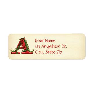 Christmas Holly Monogram A