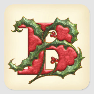 Christmas Holly Monogram B Envelope Seals Square Sticker