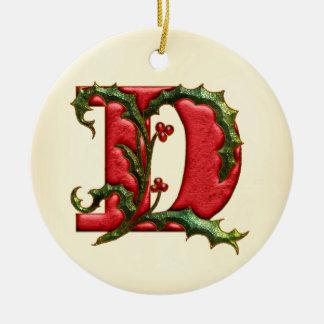 Christmas Holly Monogram D Round Ceramic Ornament