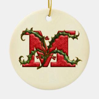 Christmas Holly Monogram M Round Ceramic Ornament