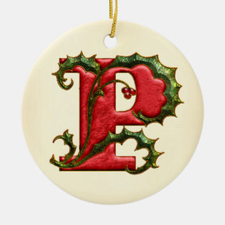 Christmas Holly Monogram P Ceramic Ornament
