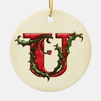 Christmas Holly Monogram U Round Ceramic Ornament