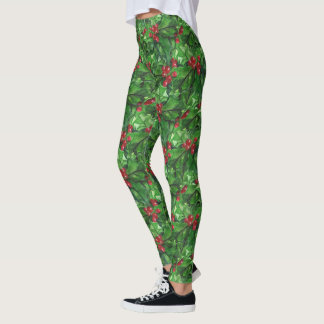Christmas holly pattern Holiday leggings