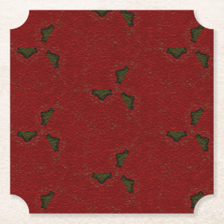 Christmas Holly Pattern Paper Coaster