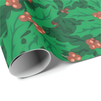 Christmas holly pattern wrapping paper