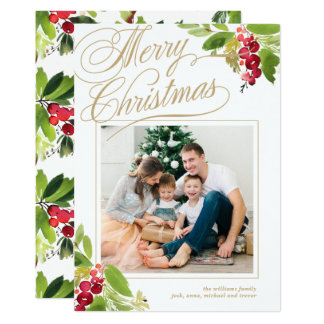 Christmas Holly Photo Card
