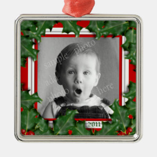 Christmas Holly, Photo Frame, Red Ribbon Ornament
