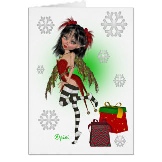 Christmas Holly Pixi Greeting Card