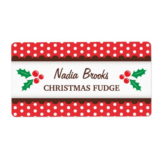 Christmas holly red polka dots canning jar label shipping label