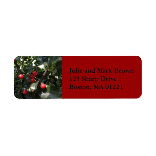 Christmas Holly Return Address Label
