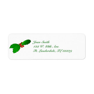Christmas Holly Return Address Labels