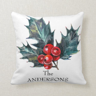 Christmas Holly Sprig Personalized Holiday Pillow