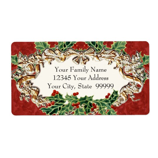 Christmas Holly w Gold Look Ribbon n Damask Label Shipping Label