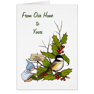 Christmas Holly with Gnome, Chickadee Bird, Art Card