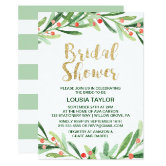 Christmas Holly Wreath Bridal Shower Card