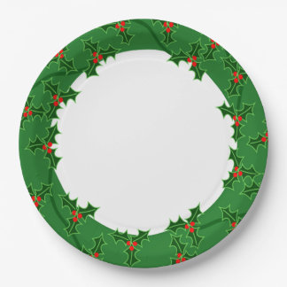 Christmas Holly Wreath Paper Plate