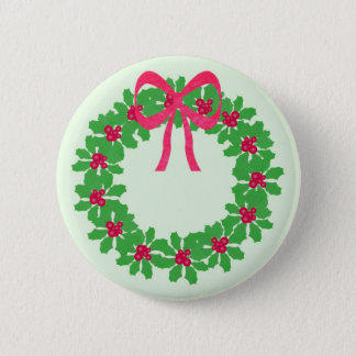 Christmas Holly Wreath T-Shirts, Cards, Gifts 2 Inch Round Button