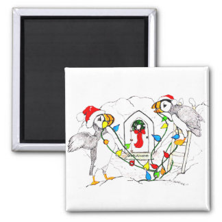Christmas Hornedbill Puffins Decorating Nest Square Magnet