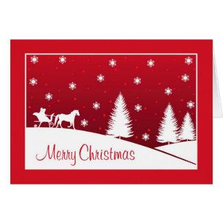 Christmas Horse Drawn Sleigh Snow Scene Red Card