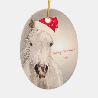 Christmas Horse Holiday Greetings Ceramic Oval Ornament
