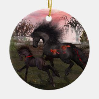 Christmas Horses Circle Ornament