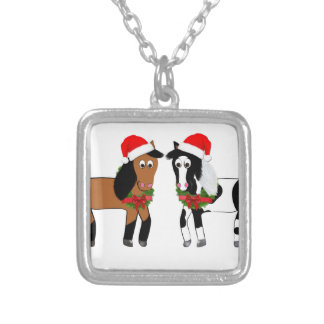 Christmas Horses Silver Plated Necklace