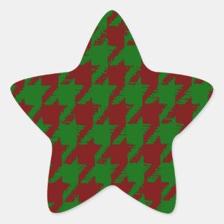 Christmas Houndstooth Star Sticker