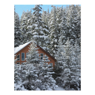 Christmas house in the winter forest letterhead