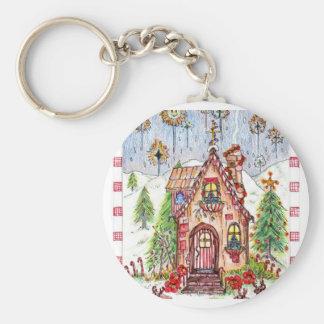 Christmas house keychain