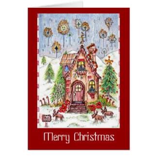 Christmas house note card