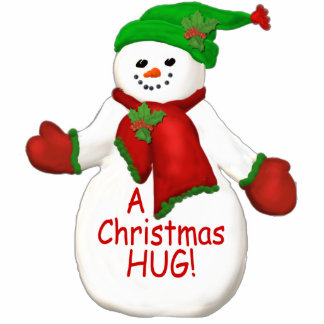 Christmas Hug Snowman Ornament Photo Sculpture Ornament