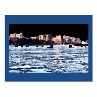 Christmas Ice Fishing Madison Wisconsin Postcard