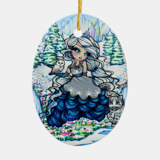 Christmas Ice Princess Snow Owl Art by Hannah Lynn Ceramic Ornament