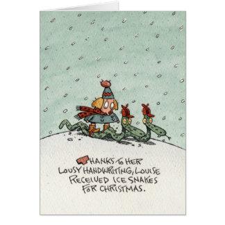 Christmas Ice Snakes Greeting Card