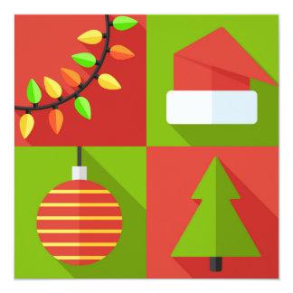 "Christmas Icon Set 5.25"" Square Invitation Card"