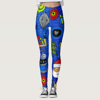 Christmas Icons Fun Festive Colorful Blue Leggings