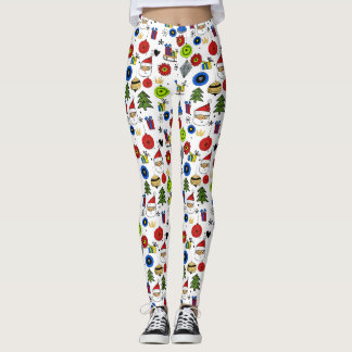 Christmas Icons Fun Festive Colorful Leggings