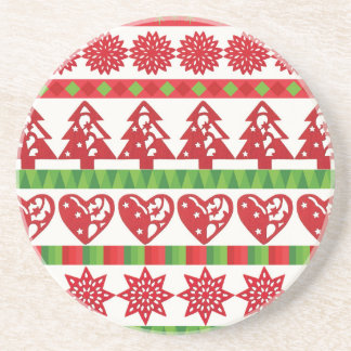 Christmas icons, stars, hearts, pine tree coaster