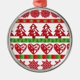 Christmas icons, stars, hearts, pine tree Silver-Colored round ornament