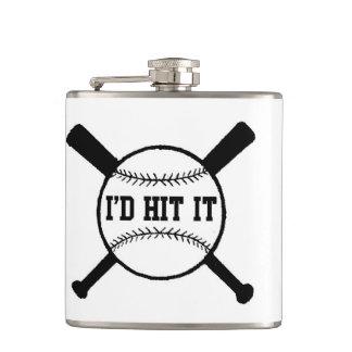 Christmas I'd hit it xmas baseball Hip Flask