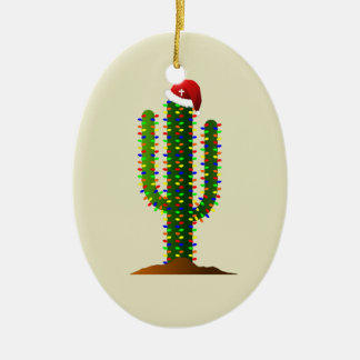 Christmas in Arizona Saguaro Cactus Lights Ceramic Ornament