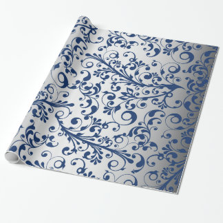 Christmas in blue & silver wrapping paper