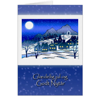 Christmas in Danish, Snowy Village in Mountains Card